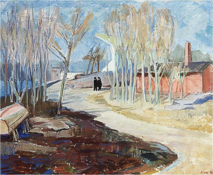 Tölö Roddstadion, Helsingfors, olja på duk, sign. 1940, 51x61 (a tergo betäckt målning Självporträtt)