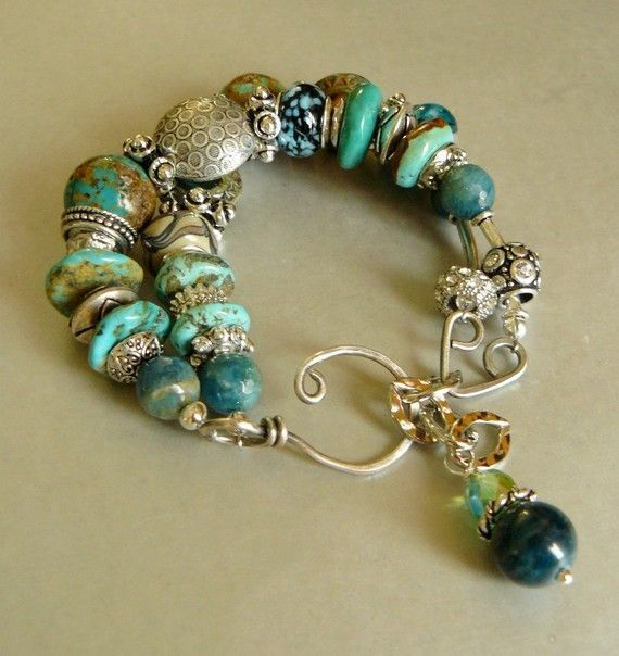 Just gorgeous! Turquoise Cowboy with Turquoise Apatite Lampwork by pmdesigns09:
