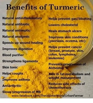 tumeric - I use this for inflammation from rheumatoid arthritis.