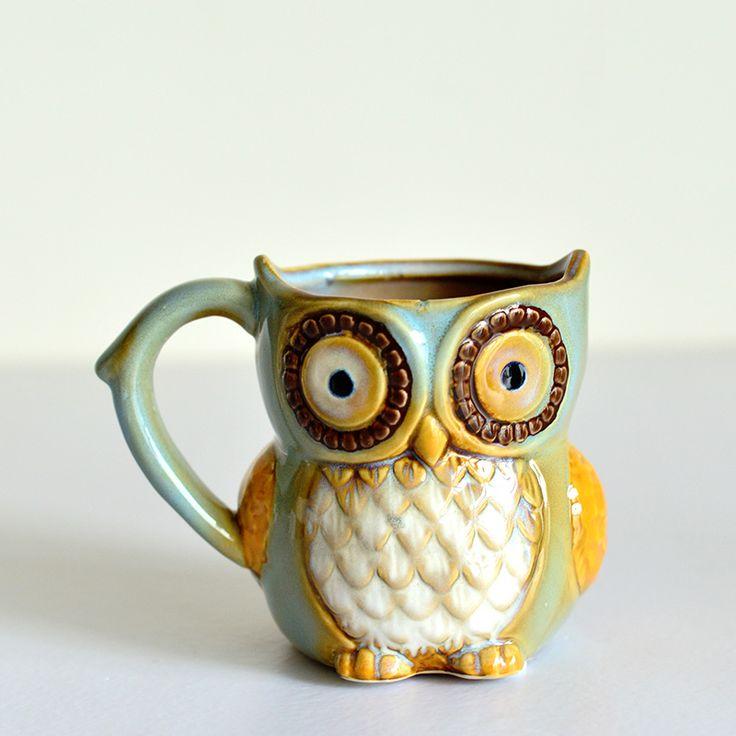 Ceramica 3D Gufo Cartone Animato Tazza di Caffè Craft Decorazione Della Stanza Blu Mattina tazza di Latte Tazza di Porcellana Creativa Dipinta A mano Figurine Del Capretto regalo(China (Mainland))