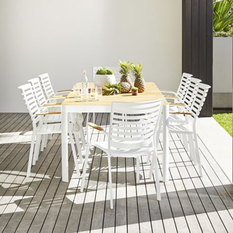 Adelphi Outdoor 9 Piece Dining Package For Courtyard Part 94