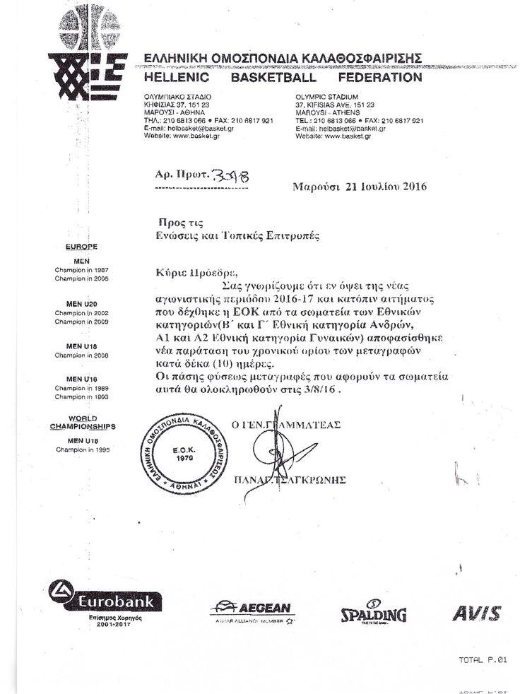 Νέα παράταση μεταγραφών σωματείων εθνικών κατηγοριών