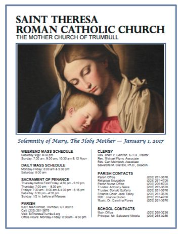 View our current weekly Parish Bulletin  http://www.parishesonline.com/find/st-theresa-church-06611