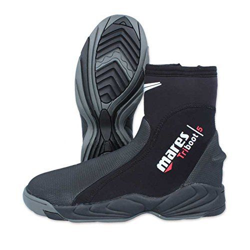 The Mares Trilastic 5mm Dive Boot is a robust temperate water boot that will give you years of reliable service. This beefy built dive boot has a comfortable hard sole, engineered to give the highest control and power transmission during fining action. The neoprene around the ankle area is made...