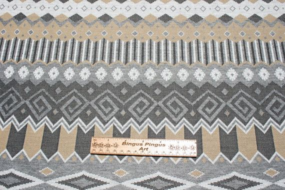 Vintage Brown Grey Jersey Knit Fabric, Geometric Chevron Stretchy, 1970s 70s Mod Retro, Ugly Sweater Fabric Material 1 yard
