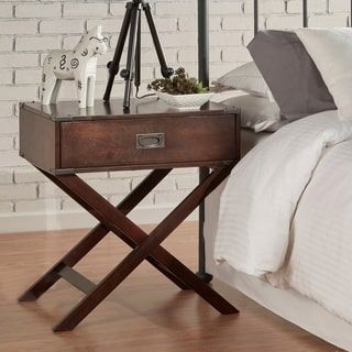 Kenton X Base Wood Accent Campaign Table by iNSPIRE Q Bold | Overstock.com Shopping - The Best Deals on Coffee, Sofa & End Tables