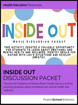 Empower emotional intelligence (and social intelligence) in your students with these engaging Inside Out Lesson Plans!Tap into the brilliance of Disney Pixar's Inside Out(2015) as a tool for teaching students about emotional and mental health and wellness, identifying skills for coping with life situations and developing empathy.