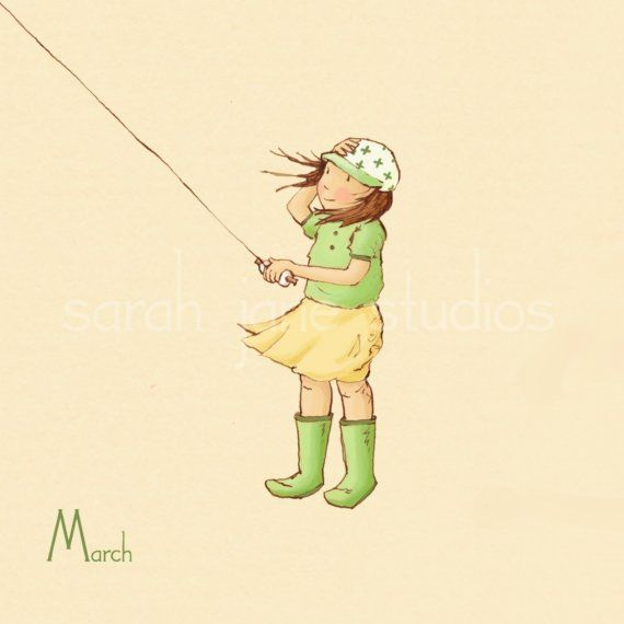 Marzo es el momento perfecto para volar una cometa en el viento!  Se coordina con los 12 de su mes por mes calendario imprime    * Si desea