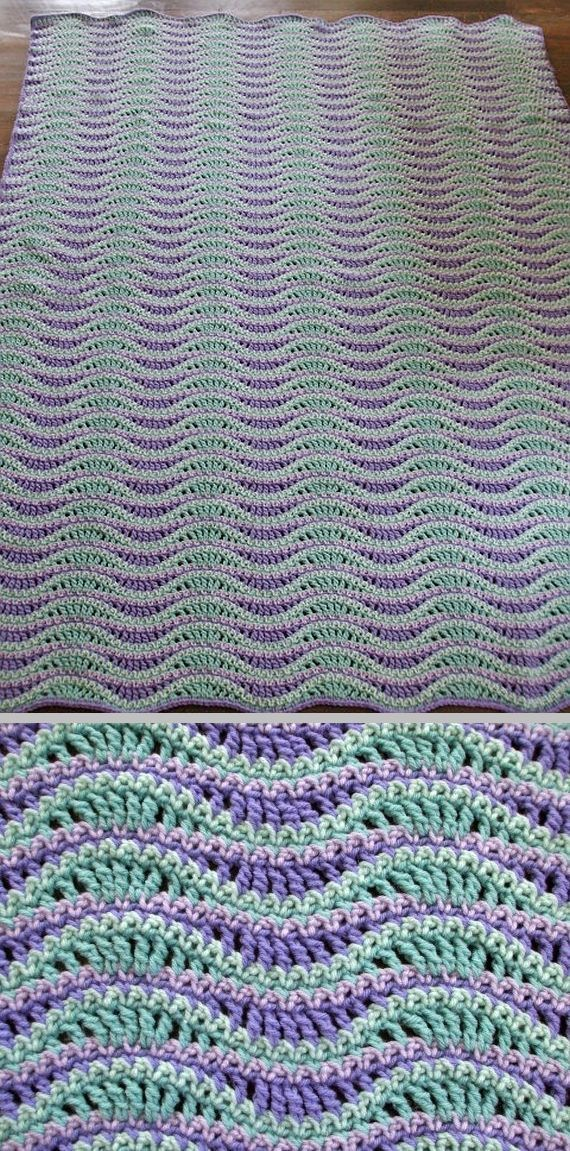 "Inspiration :: Wave blanket, by Jen Roth Crochet on Etsy (no pattern). Wave pattern nicely defined by use of color. *Note TC & SC stitch placements: two stitches decreased on ""downward"" wave, two stitches increased on ""crest"" of wave. . . . . ღTrish W ~ http://www.pinterest.com/trishw/ . . . . #crochet #afghan #throw"