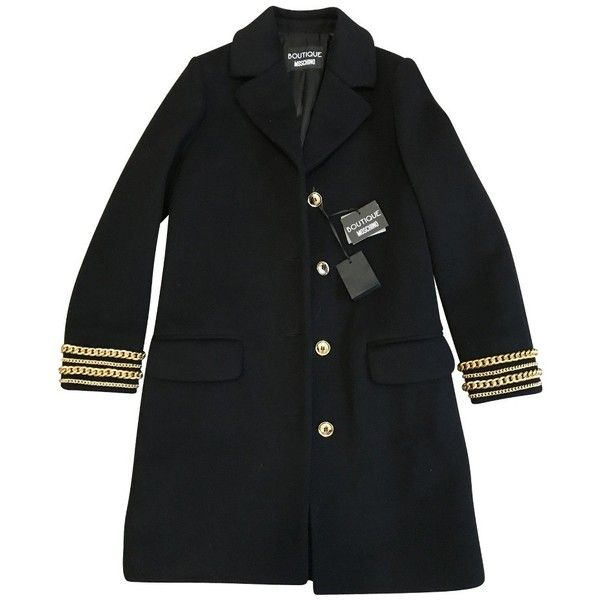 Pre-owned coat (3.215 RON) ❤ liked on Polyvore featuring outerwear, coats, black, moschino, knee length coat, moschino coat and gold coat