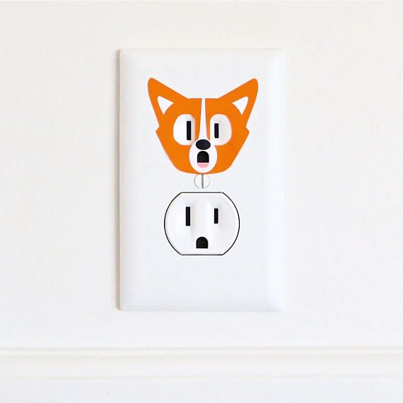 Corgi  Electric Outlet Wall Art Sticker Decal