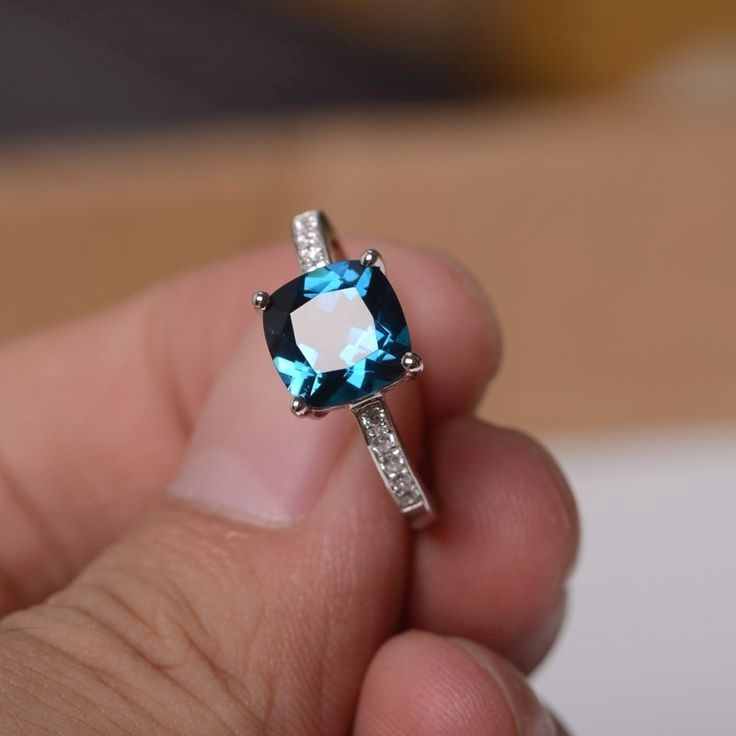 Natural London Blue Topaz Ring Sterling Silver by KnightJewelry, $98.00