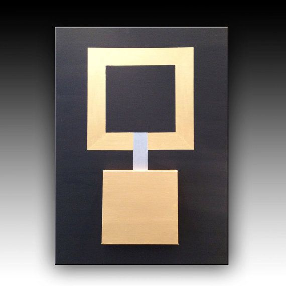 Acrylic Abstract Painting Black and Gold by CanvasOnCanvasArt