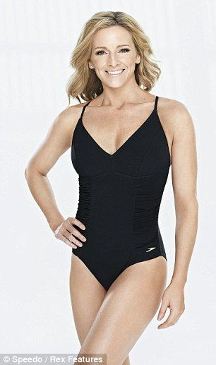 The face: Gabby Logan fronted Speedo's Parade to the Pool in central London on Tuesday