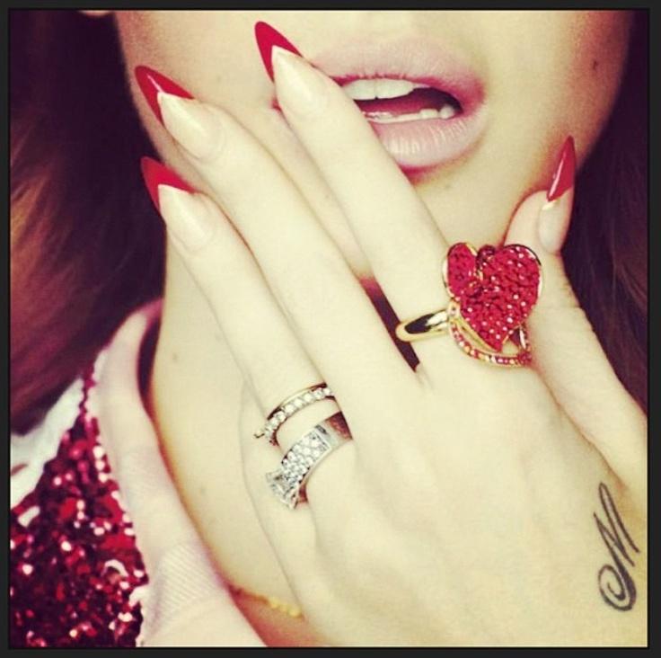 Red Nail Polish Lana Del Rey: Lana Del Ray Inspired #nailart. Sharpe And Pointed End