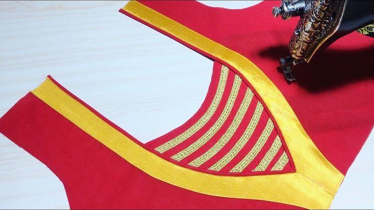 Churidar Blouse Back Neck Design cutting and stitching