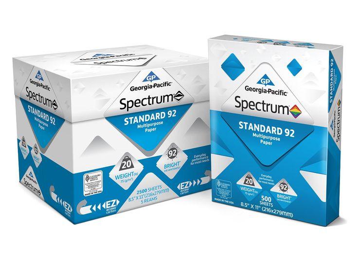 Georgia Pacific Spectrum Standard 92 Multipurpose Paper 8.5 x 11 Inches 1 box of 5 packs 2500 Sheets 991316