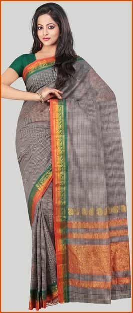 Dusty #Green and #Orange Narayanpet Handloom #Cotton #Saree With #Blouse | $27.51 | Shop Here : http://www.utsavfashion.com/store/sarees-large.aspx?icode=ssp10