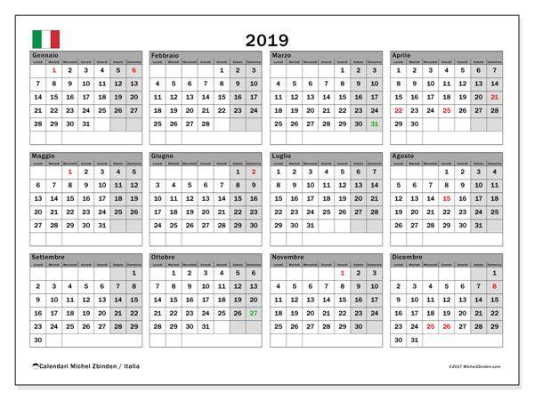 Calendario 2019 Italia Calendario Stampabile Calendario Calendario Stampabile Gratis