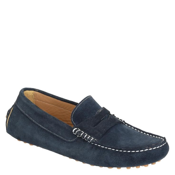 Blue suede driving moccasins for men handmade in Italy - Italian Boutique €170