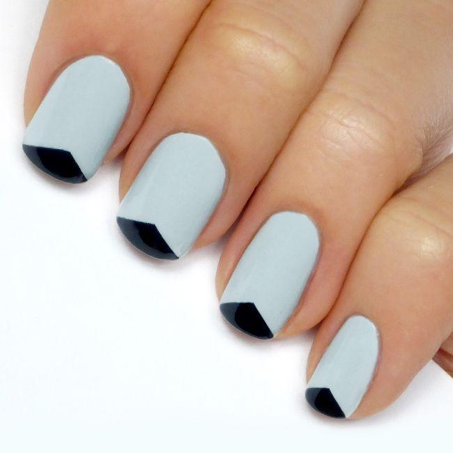 Lulus.com Mani Monday: Grey + Black Triangle Tip