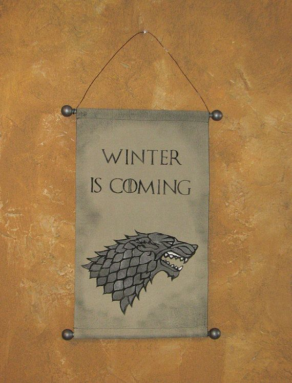 """Hand Painted Canvas """"Winter is Coming"""" Banner - Game of Thrones - House Stark - Direwolf - Sigil - Wall Hanging - Wall Art - Sign"""
