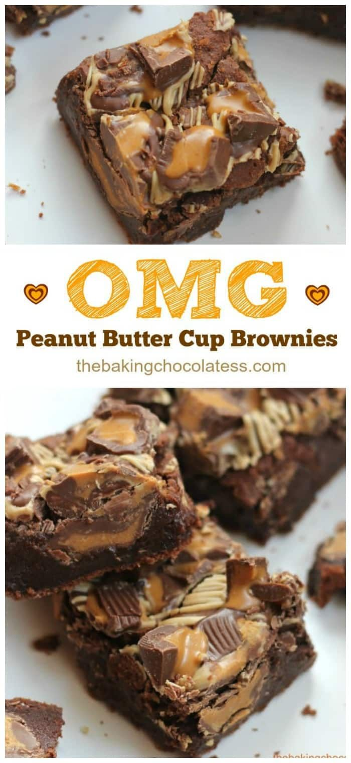 OMG Peanut Butter Cup Brownies pack a powerful chocolate and peanut butter fix that will satisfy beyond happy!