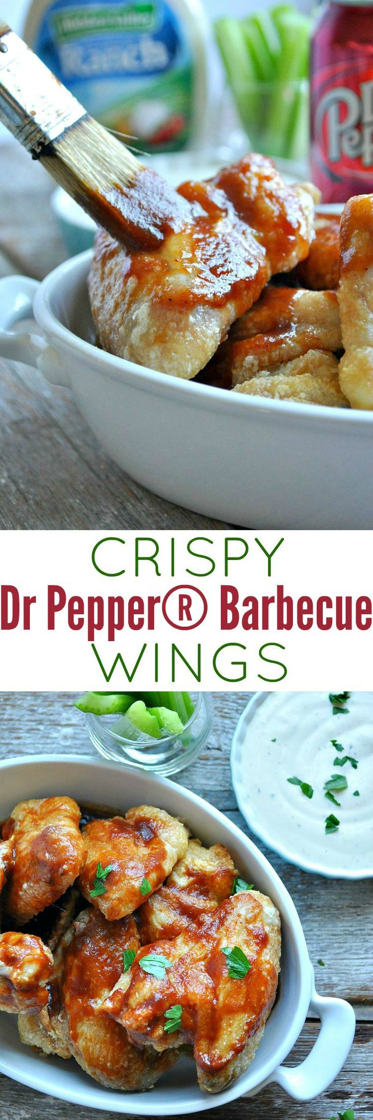 These Crispy Dr Pepper® Barbecue Wings are the perfect appetizer or tailgate food for all of your festivities this season! #ad