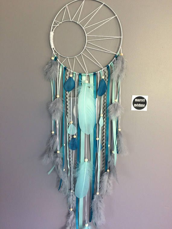 Dream catcher weaving Sun and stars in mint, Teal …