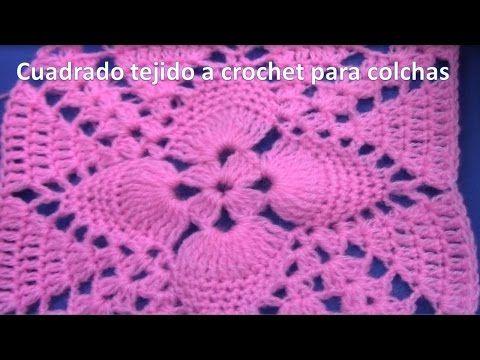 Cuadrado a crochet paso a paso para mantitas y cobijas de bebe en hojas en relieves - YouTube
