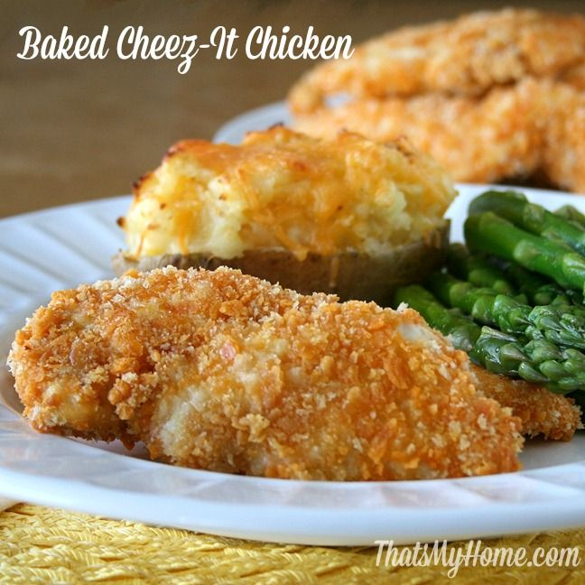 Baked Cheez-It Chicken is made using a lightly coated mixture of cheez ...