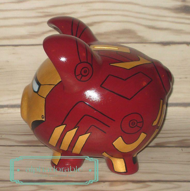 Alphadorable: Custom Super Hero and Star Wars Hand painted piggy banks...Ironman, Spiderman, Boba Fett