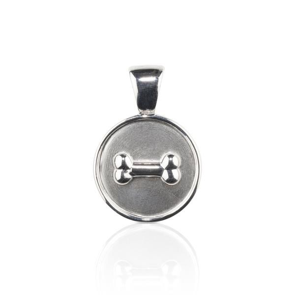 Dog themed jewellery -  Bone on Disc Pendant sterling silver