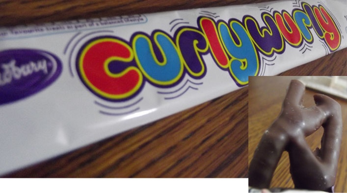 Curlywurly (1970s canadian named Wig Wag)- thin pieces of caramel covered in chocolate. Very nice and light chocolate bar that is very unique.