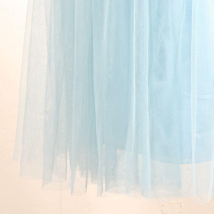 インフィニティロングドレス・ボビネット(パウダーブルー)。ボビネットならではのエアリーなボリューム感が魅力。 #Bridesmaid #Wedding #Dress #Blue #Pastel