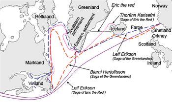 """The different sailing routes to Greenland, Vinland (Newfoundland), Helluland (Baffin Island) and Markland (Labrador) travelled by different characters in the Icelandic Sagas, mainly Saga of Erik the Red and Saga of the Greenlanders. The names are the common modern English versions of the old Norse names."""