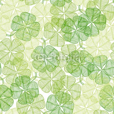 Seamless pattern with abstract clover leaves. Wall Decal