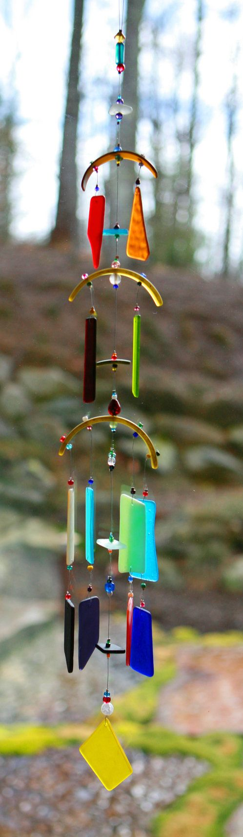 Recycled Beach Glass Wind Chime Sun Catcher by mistymountainglass, $48.00
