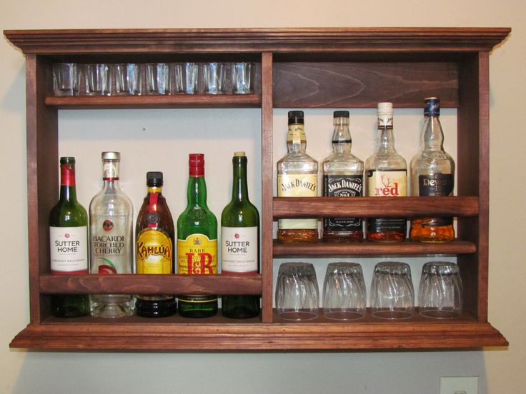 Mini Bar. Red Mahogany Stain, wall mounted liquor cabinet by DogWoodShop on Etsy https://www.etsy.com/dk-en/listing/272862380/mini-bar-red-mahogany-stain-wall-mounted