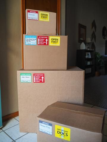 Well-Planned Move: Moving Labels - Color-coded moving labels for packing boxes