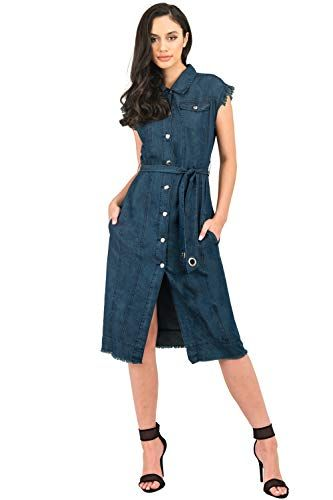 0a1761cebdf Standards   Practices Sleeveless Frayed Hem Indigo Denim Duster Jacket  Dress