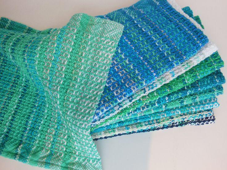 Vaffelvævede klude fra min rammevæv knitters loom