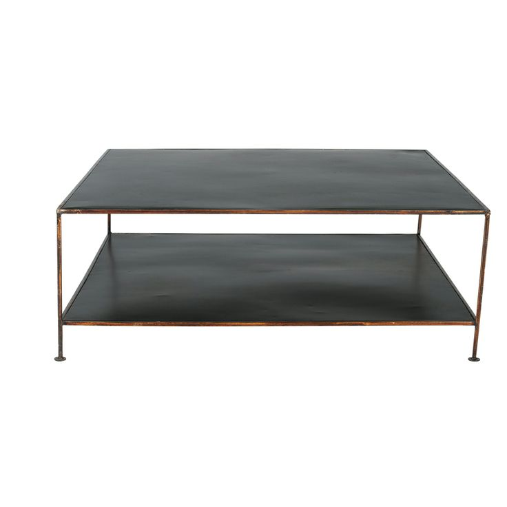 Painted metal patio coffee table - with a handy bottom shelf