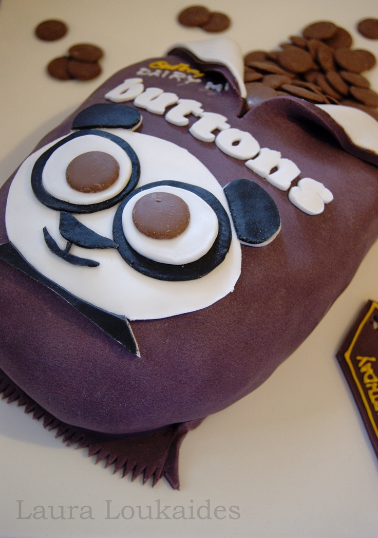 Chocolate Buttons Cake - Rich Chocolate cake, shaped like a giant bag of Cadbury Chocolate Buttons!! Loved making this cake!! x