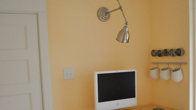 Turn a Desk Lamp Into a Wall Lamp by lifehacker: Free up your desk! #DIY #Wall_Lamp #lifehacker: Wall Lamps, Spaces Sav Wall, Space Saving, Spaces Save, Ikea Hackers, Desks Lamps, Spacesav Wall, Hackers Discover, Bedside Tables Lamps