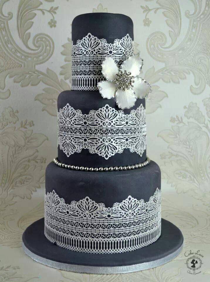 Best Cake Decorating Book Ever! http://www.amazon.com/gp/product/143918352X/ref=as_li_tl?ie=UTF8&camp=211189&creative=373489&creativeASIN=143918352X&link_code=as3&tag=alejanguerre-20&linkId=XJTFX462YWMZO4ZB - Black & silver #WeddingCake