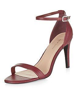 Burgundy Ankle Strap Heels    New Look
