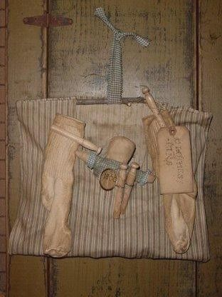Primitive Clothespin Bag And Doll Pattern Bags