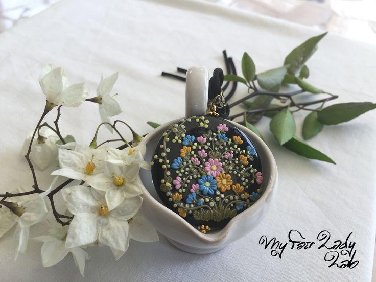 Medaglione Flowers Polymer Clay Fimo