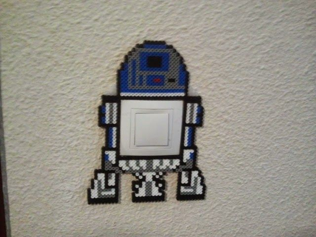 R2D2 Star Wars light switch cover hama perler beads by Andres Moreno Rodriguez